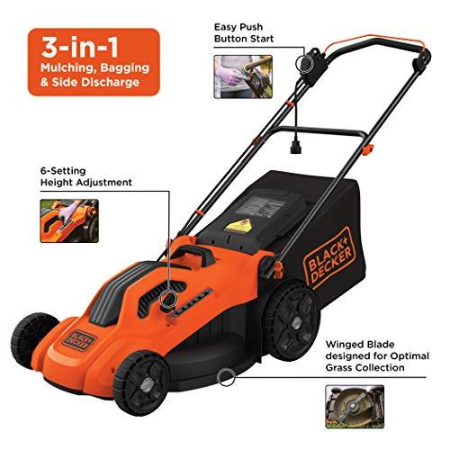 "BLACK+DECKER 20"" Electric Lawn Mower, 13-Amp, Orange BLACK+DECKER BEMW213 20"" Electric Lawn Mower, 13-Amp, Orange."