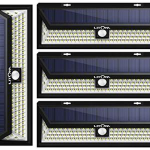 LITOM Enhanced 102 LED Super Bright Solar Lights Outdoor