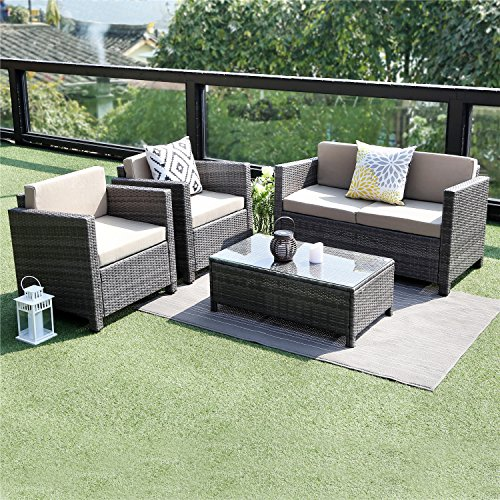 Wisteria Lane 5 Piece Outdoor Furniture Set,Patio Sectional Sofa All Weather
