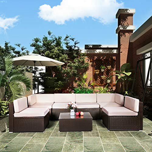 U-MAX 7 Piece Patio PE Rattan Wicker Sofa Set Outdoor Sectional Furniture Chair