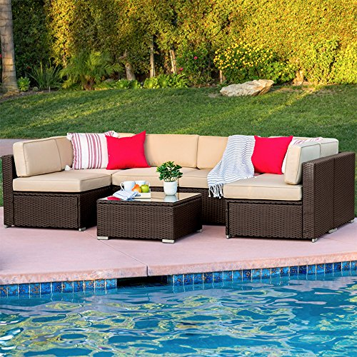Best Choice Products 7-Piece Modular Outdoor Sectional Wicker Patio Furniture