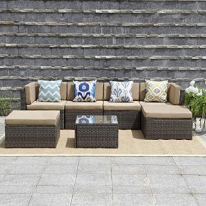 Wisteria Lane Outdoor Furniture 7 Piece Patio Wicker Sofa Set Washable Seat