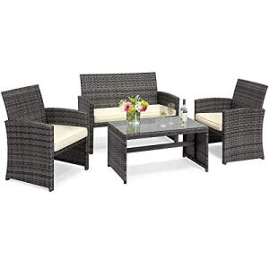 Goplus 4-Piece Rattan Patio Furniture Set Garden Lawn Pool Backyard Outdoor Sofa