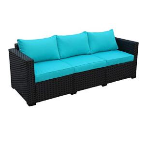 Patio PE Wicker Couch - 3-Seat Outdoor Black Rattan Sofa Furniture
