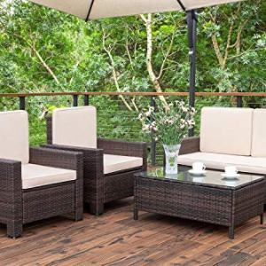 Homall 5 Pieces Outdoor Patio Furniture Sets Rattan Chair Wicker Conversation Sofa