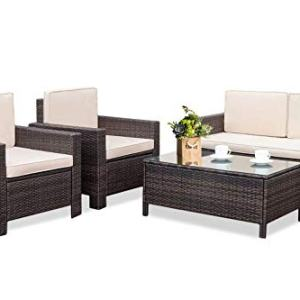 Outdoor Patio Furniture Set, 4pcs Rattan Wicker Sofa Garden Conversation Set