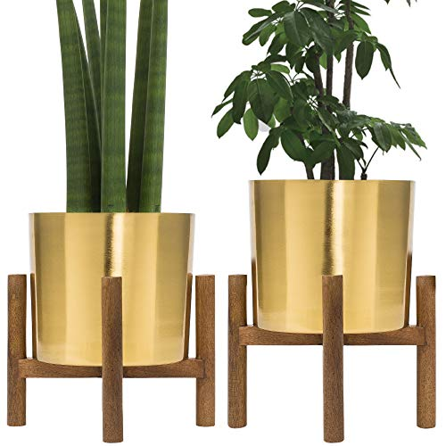 Set of 2 Mid Century Brass Plated Gold Planter with Stand, 7 Inch Large Metal Pot