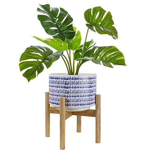 Large Ceramic Plant Pot with Stand - 9.4 Inch Modern Cylinder Indoor Planter