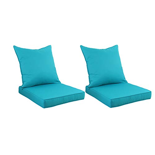 Outdoor Deep Seat Chair Cushion Set - Replacement Cushions for Patio Furniture with Water Resistant Fabric, Turquoise