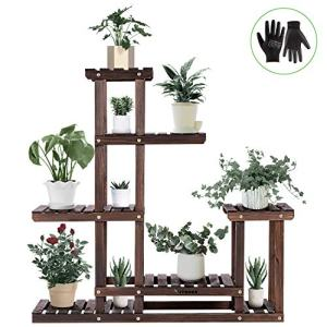 VIVOSUN Wood Plant Stand High Low Shelves Flower Rack Display