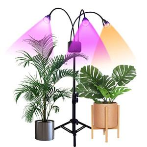 Floor Grow Lights with Stand,Full Spectrum Tri-Head 66 LEDs Plant Light