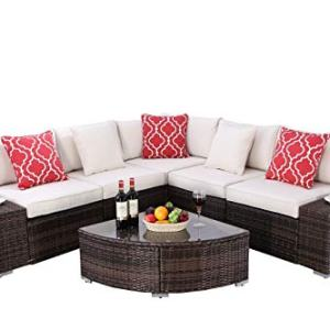 Do4U 6 Pieces Outdoor Patio PE Rattan Furniture Sectional Conversation Set