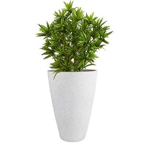 Large White Tall Planter - Indoor Outdoor House Plant Pot,Resin Plant Containers
