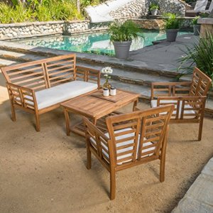 Louis Patio Furniture 4 Piece Outdoor Chat Set | Acacia Wood