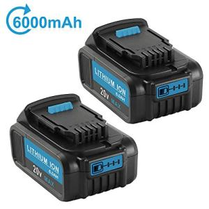2Pack 20 Volt MAX 6.0Ah Lithium Ion Premium Battery for Dewalt 20V Battery