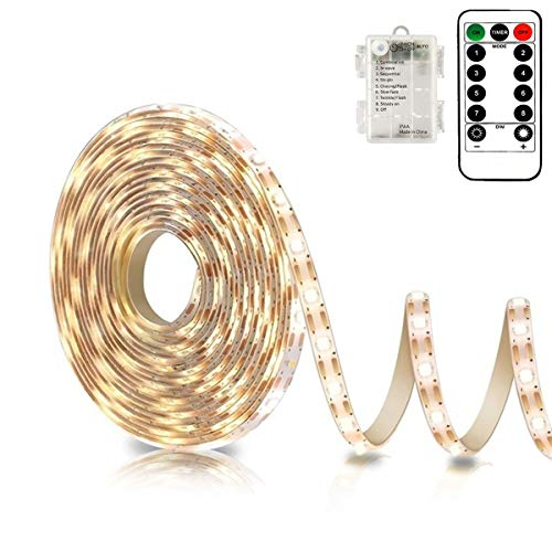 Battery Powered Led Strip Lights with Remote Warm White, 8 Modes