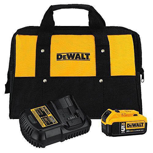 DEWALT 20V MAX Battery and Charger Kit with Bag, 5.0Ah