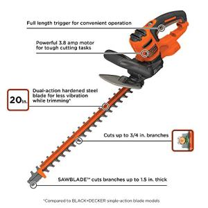 BLACK+DECKER Hedge Trimmer with Saw, 20-Inch