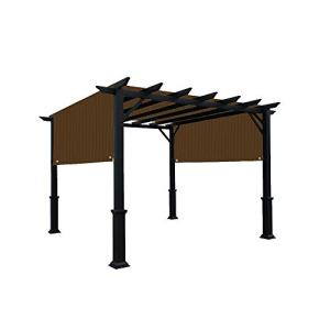 Alion Home Universal Pergola Replacement Canopy Shade Cover with Breathable HDPE Fabric & Rod Pockets for 10 x 10 FT Pergola, Canopy Size: 192'' L x 106'' W (Mocha Brown)