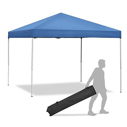 Smartxchoices Pop Up Canopy Tent - 10 x 10 FT Blue Foldable and Height Adjustable Outdoor Tent Sun Protection Canopy Beach Shelter with Wheeled Carry Bag Steel Frame Waterproof Oxford Fabric