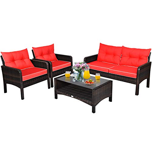 Tangkula 4 Pcs Wicker Patio Furniture Set, Outdoor Conversation Set with Tempered Glass Top Table, Sectional Wicker Sofa Set with Cushions, Bistro Sets with Coffee Table for Courtyard Balcony (Red)
