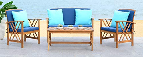 Safavieh Collection Fontana Teak Look and Navy 4 Pc ... on Fontana 4 Pc Outdoor Set  id=45424