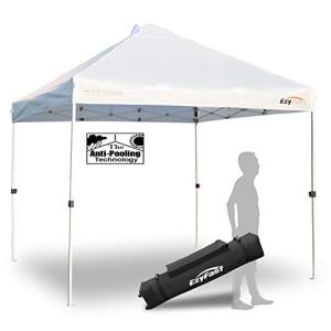 EzyFast Antipool Pro Commercial Canopy for Rain or Sunshine, White Heavy Duty 10'x10' Pop Up Vented Canopy, Portable Patented Instant Shade Tent with Wheeled Carry Bag