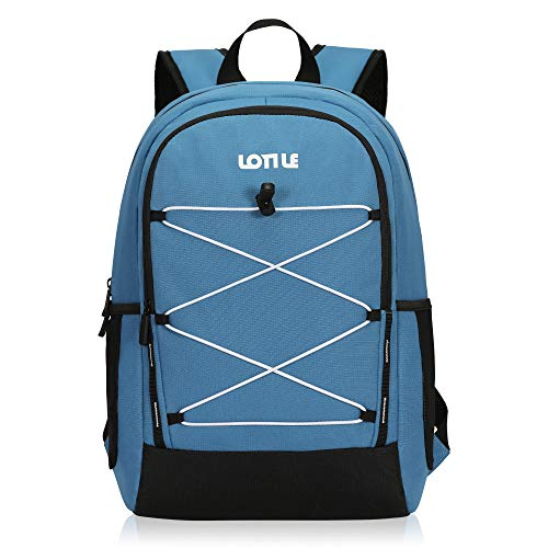 LOTILE 27 Cans Insulated Backpack Cooler Leakproof,Lightweight Cooler Backpack,for Camping Picnic Beach Hiking Soccer Game(Dark Blue)