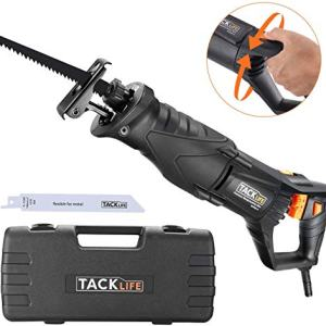 """TACKLIFE Reciprocating Saw, 7 Amp Recip Saw with Rotary Handle(Left & Right 90°), 0-2800SPM Variable Speed, LED Lights, 2 Saw Blades for Wood and Metal, Sturdy Box, 1-1/8"""" Stroke Length-RPRS01A"""