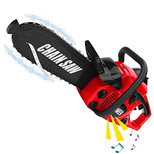 Liberty Imports Power Construction Tool Electric Chainsaw Toy Play Set with Rotating Chain and Realistic Sounds - Kids Pretend Construction Garden Yardwork