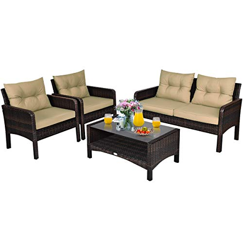 Tangkula 4 Pcs Wicker Patio Furniture Set, Outdoor Conversation Set with Tempered Glass Top Table, Sectional Wicker Sofa Set with Cushions, Bistro Sets with Coffee Table for Courtyard Balcony (Brown)