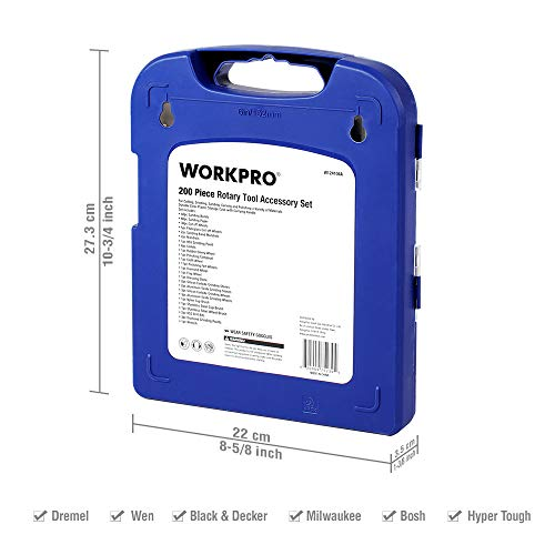 WORKPRO Rotary Tool Accessories Kit, 200-piece in Compact Case, 1/8-inch Diameter Shanks, with 4pc Collets, Universal for Major Brands Model: WORKPRO