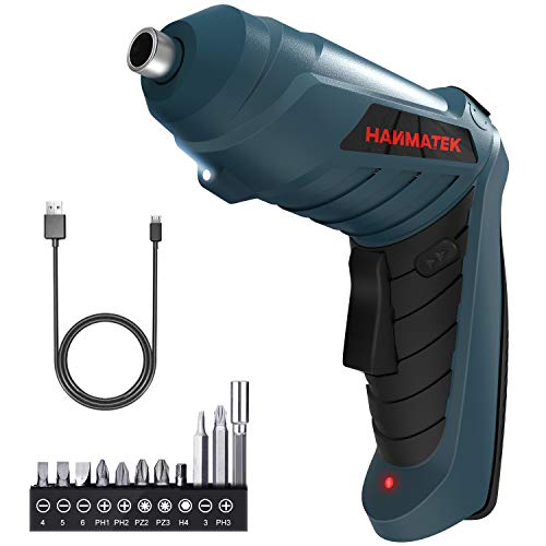 HANMATEK Rechargable Cordless Screwdriver Kit with straight and pistol style Powerful Electric Screwdriver Small Screw Guns