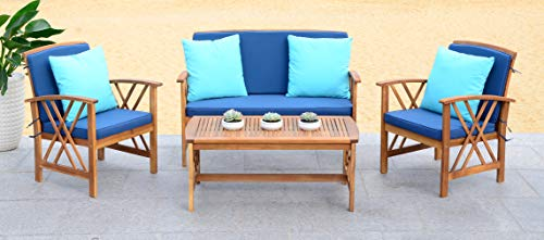 Safavieh Collection Fontana Teak Look and Navy 4 Pc ... on Fontana 4 Pc Outdoor Set  id=87594