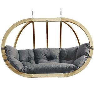 """BYER OF MAINE Globo Royal Double Chair, Treated Spruce Wood, Weatherproof, Waterproof, Agora Outdoor Fabric Cushion, Two Person, 70"""" W x 48"""" h x 30"""" D, Holds Up to 440lbs, Taupe"""