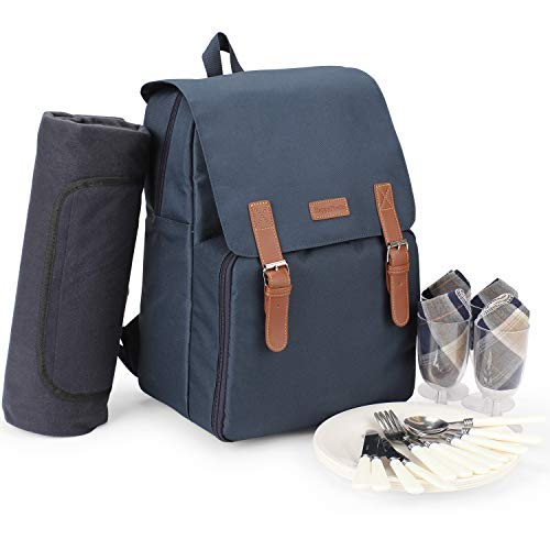 Insulated Cooler Backpack, Picnic Bag for 4 Person with Large Cooler Compartment, Waterproof and Sandproof Fleece Blanket, Plates and Cutlery Set for Camping, Beach Trips, Festivals (NAVY BLUE)