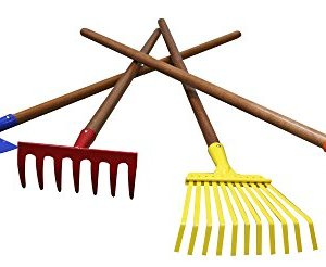 "Arcadius Garden Kids Garden Tools Set, 7/8"" x 30""- Rake, Spade, Hoe and Leaf Rake, 4-Piece"
