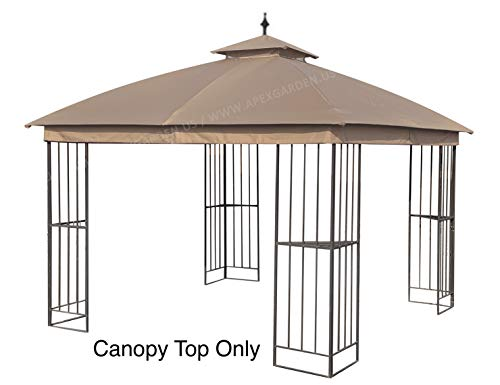 APEX GARDEN Canopy Top for Garden Treasures 10 ft x 10 ft Brown Metal Square Semi- Gazebo Model #L-GZ038PST-F (Top Only) (Tan)