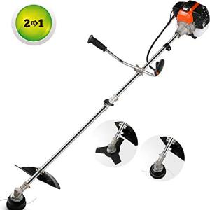 momiloeUS 42.7cc Weed Eater Gas Straight Shaft String Trimmer/Brush Cutter 2-Cycle with U-Handle, Attachment Capable for Heavy and Light Trimming