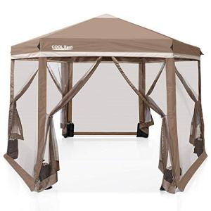 COOL Spot 6 Sided Hexagon Pop Up Gazebo Tent w/Mosquito Netting (90 Square Feet of Shade) Easy Setup Center Push Outdoor Instant Gazebo Canopy Shelter (Beige)