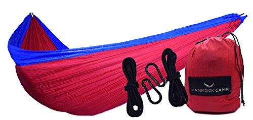 Hammock Camp Brand - Double Hammock - Lightweight Portable Hammocks for Hiking, Travel, Backpacking, Beach, Yard Gear Includes Nylon Ropes & Steel Carabiners - Red/Blue