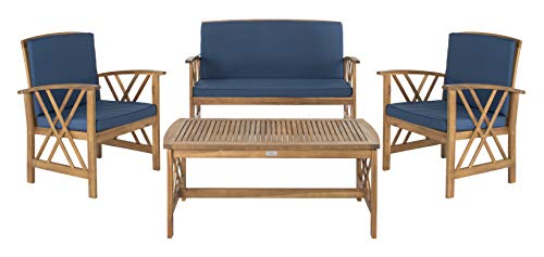 Safavieh Collection Fontana Teak Look and Navy 4 Pc ... on Fontana 4 Pc Outdoor Set  id=31912