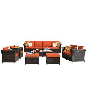 ovios Patio Furniture Set, Backyard Sofa Outdoor Furniture,PE Rattan Wicker sectional with Pillows and Coffee Table, No Assembly Required (Orange red)