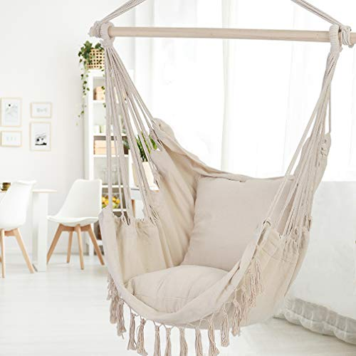 Patio Watcher Hammock Chair Hanging Rope Swing Seat with 2 ...