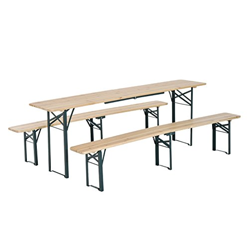 Outsunny 7' Wooden Outdoor Folding Patio Camping Picnic Table Set with Bench