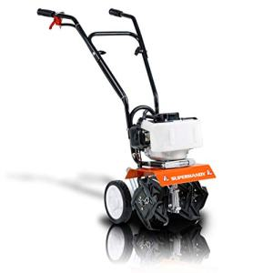SuprHandy Mini Tiller Cultivator Super Duty 3HP 52cc 2 Stroke Gas Motor 4 Premium Steel Adjustable Forward Rotating Tines for Garden & Lawn, Digging, Weed Removal & Soil Cultivation EPA/CARB Certified