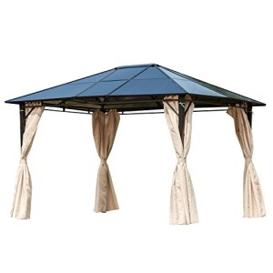 Outsunny 10' x 12' Outdoor Steel Frame Gazebo with Twin-Wall Polycarbonate Hardtop Roof and Removable Curtains