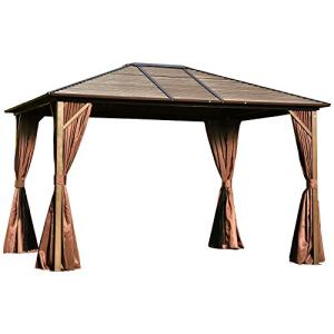 Outsunny 12' x 10' Steel Hardtop Canopy Gazebo with Fully Enclosed Zippered Curtains & Roomy Comfortable Interior, Brown