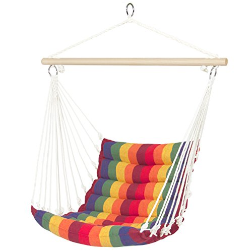 Best Choice Products Indoor Outdoor Padded Hanging Cotton Hammock Chair w/ 40in Wooden Spreader Bar - Multicolor