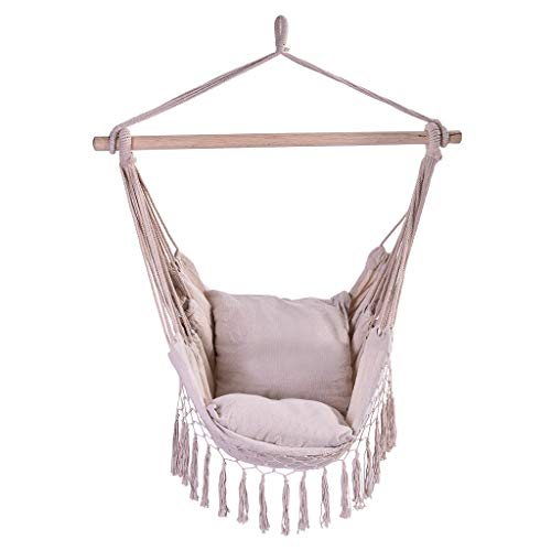 Hammock Chair Swing with 2 Cushions, Mosunx Hanging Rope Tassel Hammock Chair Swing Seat for Any Indoor or Outdoor Spaces, Max.300 Lbs (White, 39.4x51.2'')